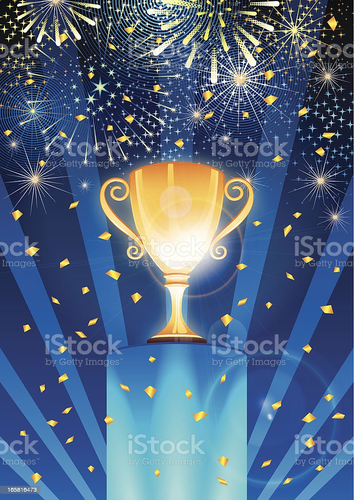 Celebrating the winner of golden trophy royalty-free stock vector art