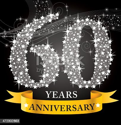 A vector illustration to show 60th Anniversary in black background
