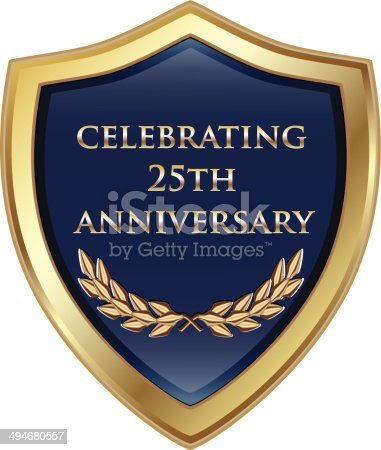 Celebrating 25th anniversary gold and blue shield.