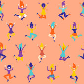 A funky seamless pattern of cheering and celebrating women characters. File is built in RGB for the brightest possible colours but can easily be converted to CMYK.