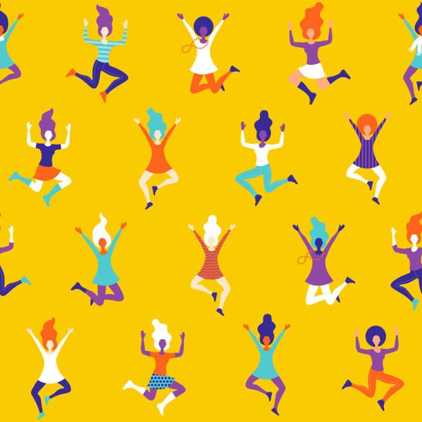 Celebrating Women Seamless Pattern A funky seamless pattern of cheering and celebrating women characters. File is built in RGB for the brightest possible colours but can easily be converted to CMYK. excitement stock illustrations