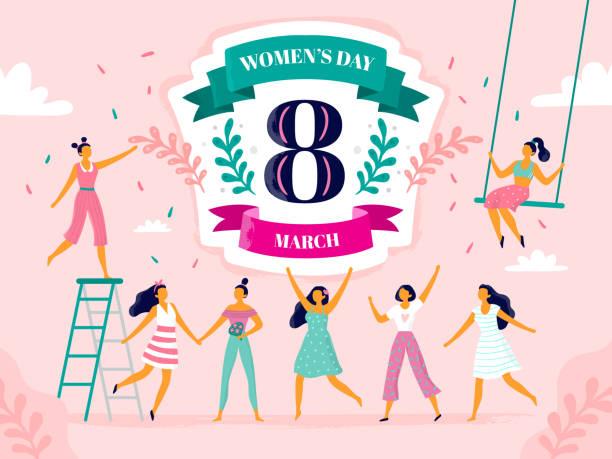 illustrations, cliparts, dessins animés et icônes de la fête du womens. huit mars célébration, heureuse femme qui riante et l'international féminin vacances vecteur plate illustration - mars