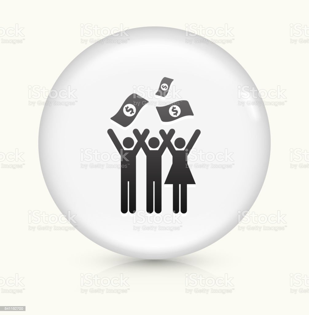 Celebration and Money icon on white round vector button vector art illustration