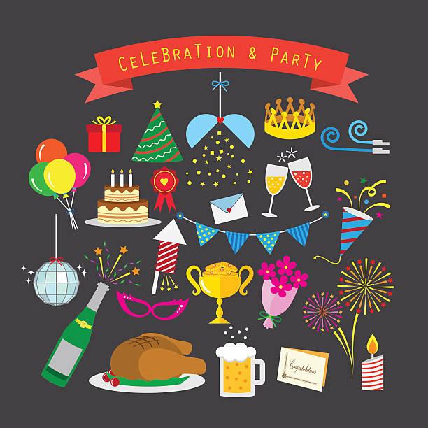 stockillustraties, clipart, cartoons en iconen met celebration and party icon set - chicken bird in box