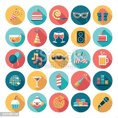A set of 25 celebration and party related icon set. Icons are grouped individually.