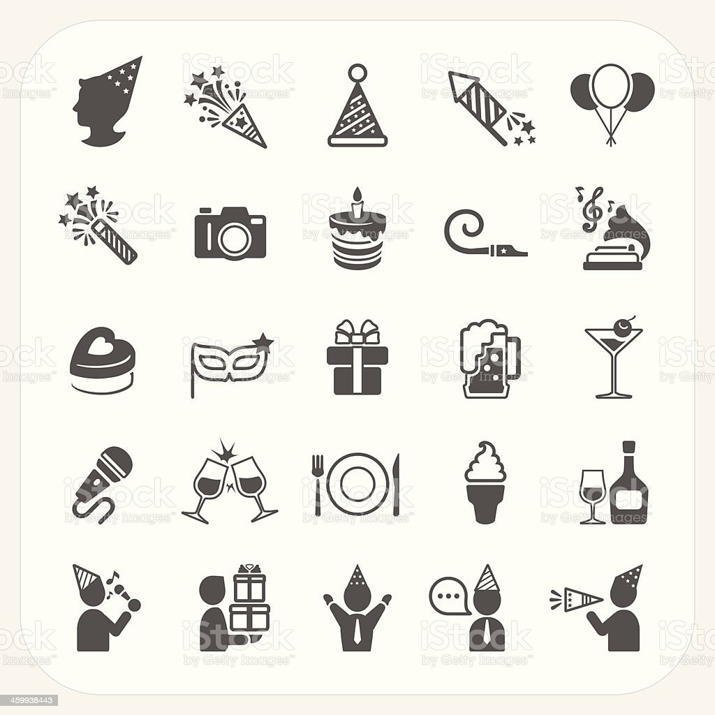 Celebration and Party icons set vector art illustration