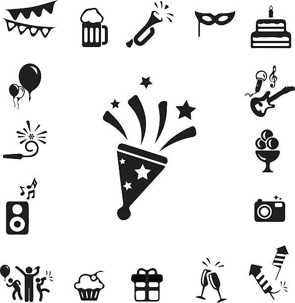 Feier und Party-Symbole-set – Vektorgrafik