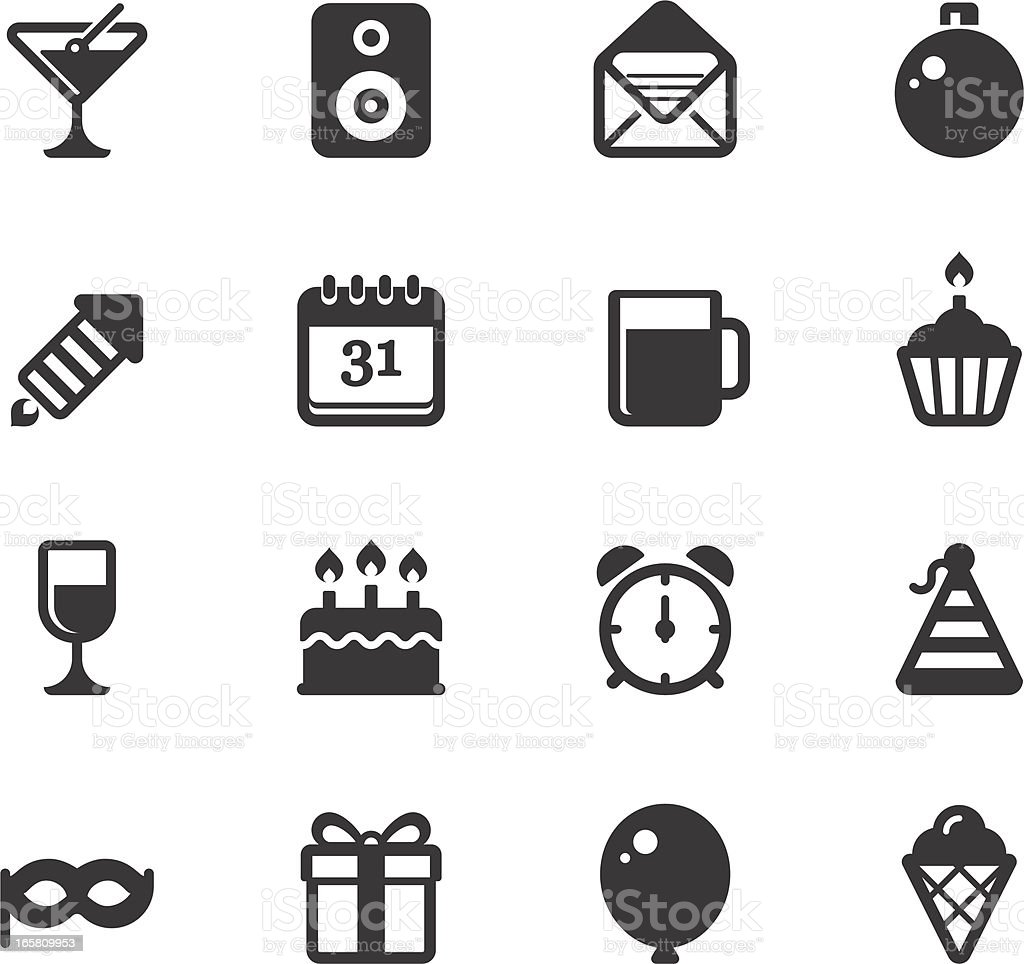 Celebration and Party Icons vector art illustration
