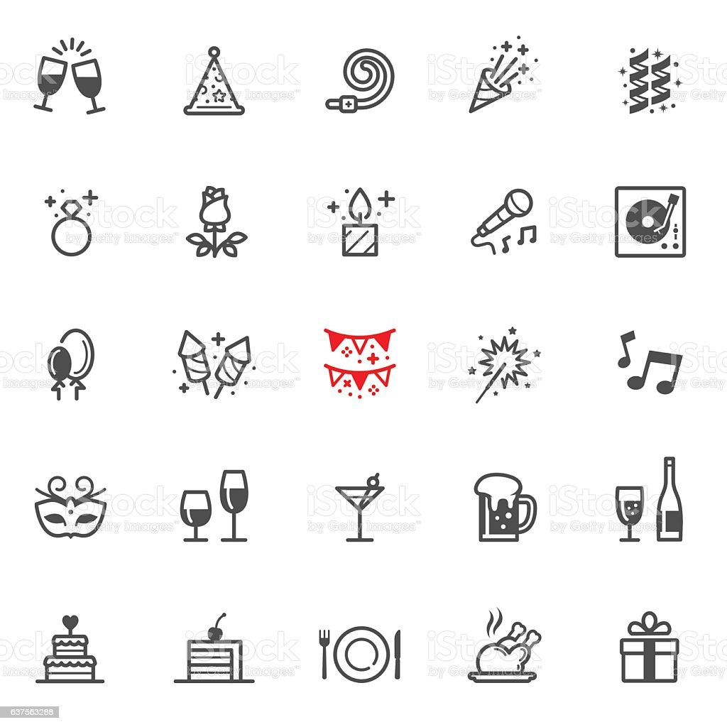 Iconos de fiesta y celebración - ilustración de arte vectorial