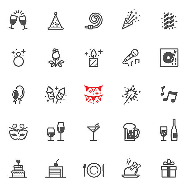 celebration and party icons - parties stock illustrations, clip art, cartoons, & icons