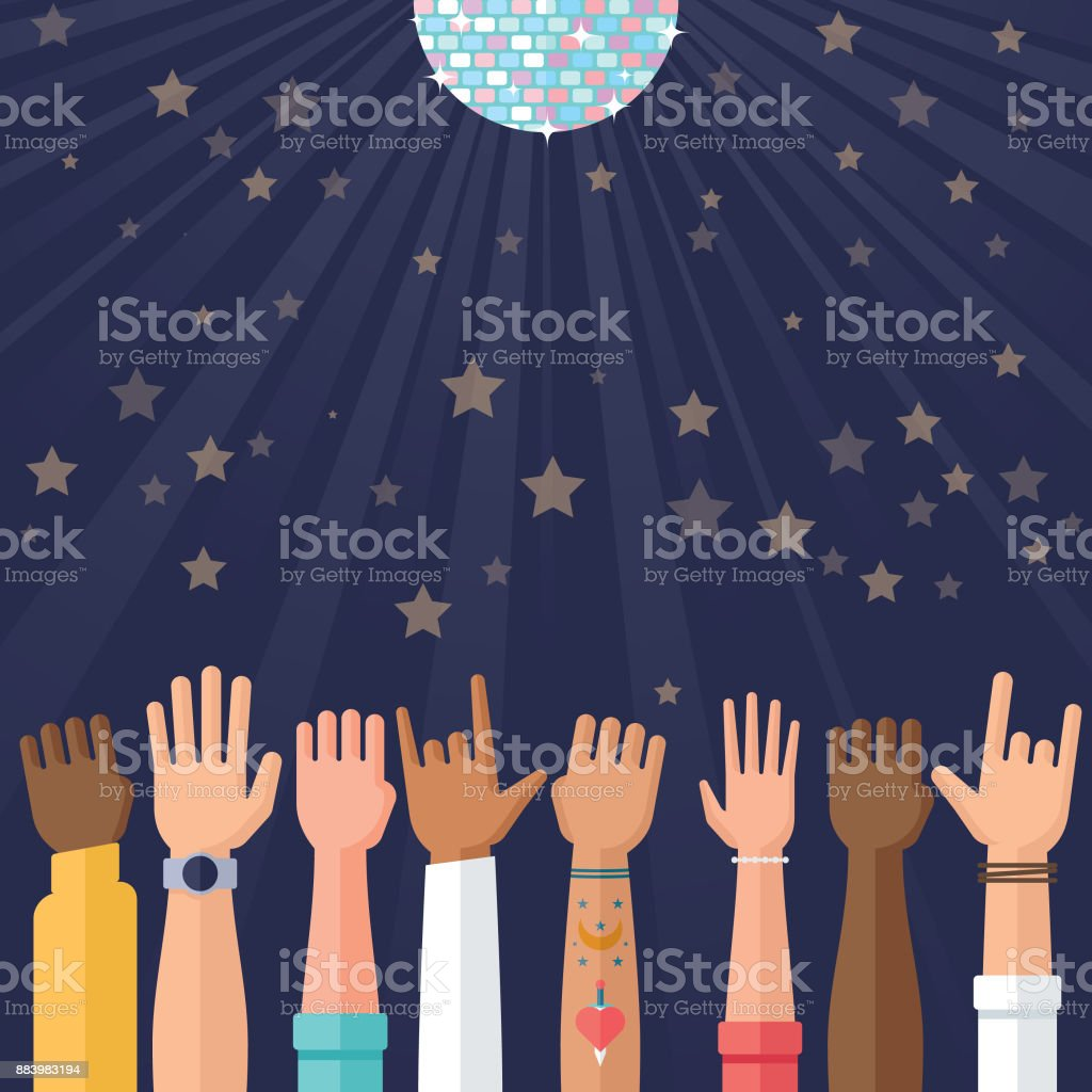 celebration and party illustration with glitter ball and hands waving vector art illustration