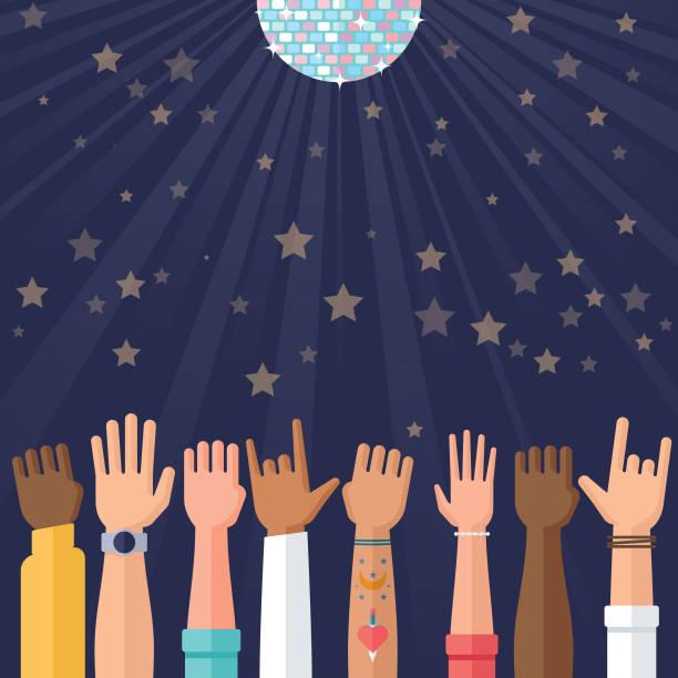 ilustrações, clipart, desenhos animados e ícones de ilustração de celebração e festa com brilho bola e mãos acenando - tatuagens de estrela