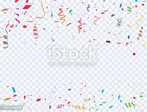 Celebration background template with confetti and colorful ribbons carnival. luxury greeting rich card.