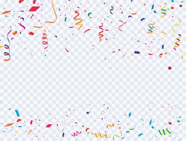 색종이와 화려한 리본 카니발 축 하 배경 템플릿. 고급 스러운 인사말 풍부한 카드입니다. - celebration stock illustrations
