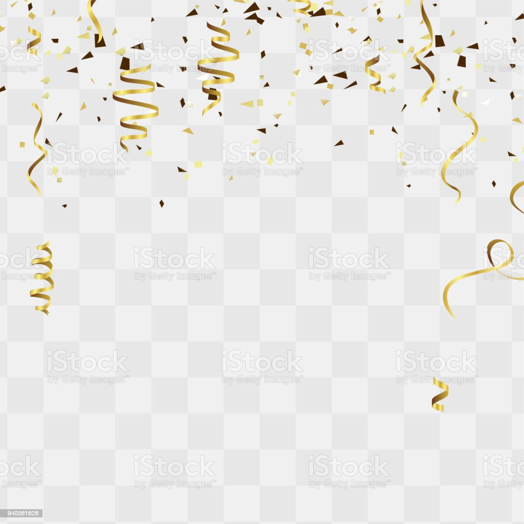 celebration background template with confetti and gold ribbons for