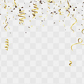 Celebration background template with confetti and gold ribbons For Independence Day Background