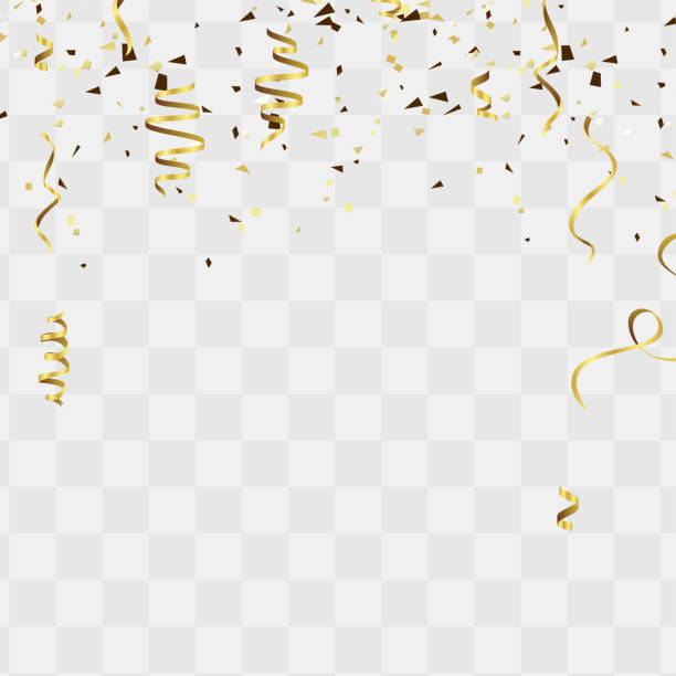celebration background template with confetti and gold ribbons for independence day background - streamer stock illustrations, clip art, cartoons, & icons