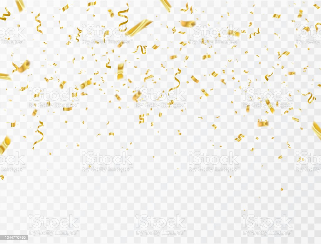 Celebration background template with confetti and gold ribbons. luxury greeting rich card. - Royalty-free 2018 arte vetorial