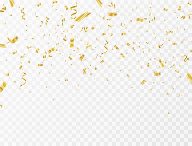 stockillustraties, clipart, cartoons en iconen met viering achtergrond sjabloon met confetti en gouden linten. rijke wenskaart luxe. - confetti