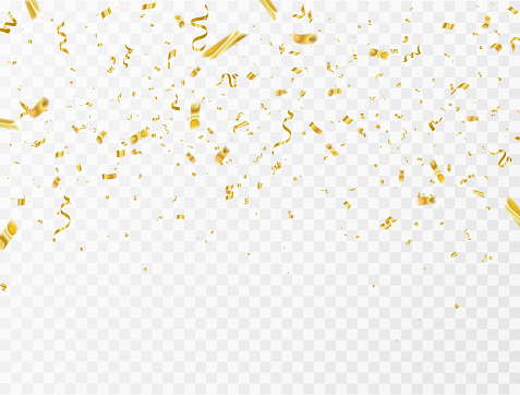 Celebration Background Template With Confetti And Gold Ribbons Luxury Greeting Rich Card - Arte vetorial de stock e mais imagens de 2018