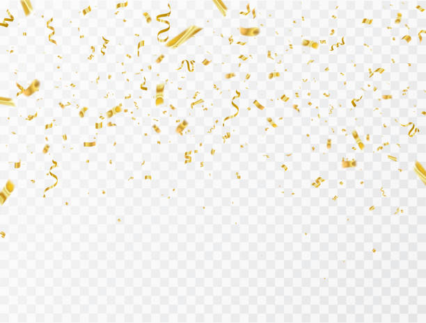 celebration background template with confetti and gold ribbons. luxury greeting rich card. - gold stock illustrations