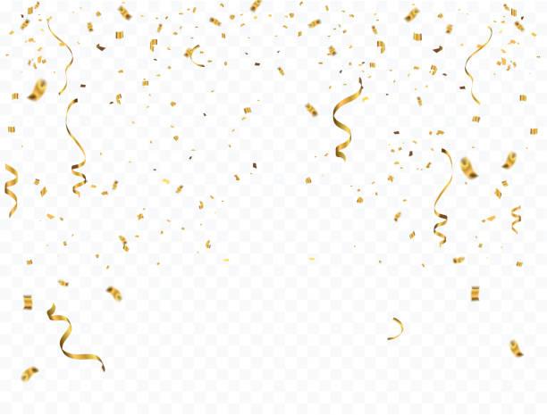 紙吹雪とゴールドのリボンでお祝い背景テンプレート。 - 紙ふぶき点のイラスト素材/クリップアート素材/マンガ素材/アイコン素材