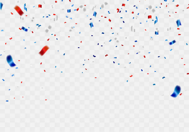 celebration background template with confetti and red and blue ribbons. - confetti stock illustrations
