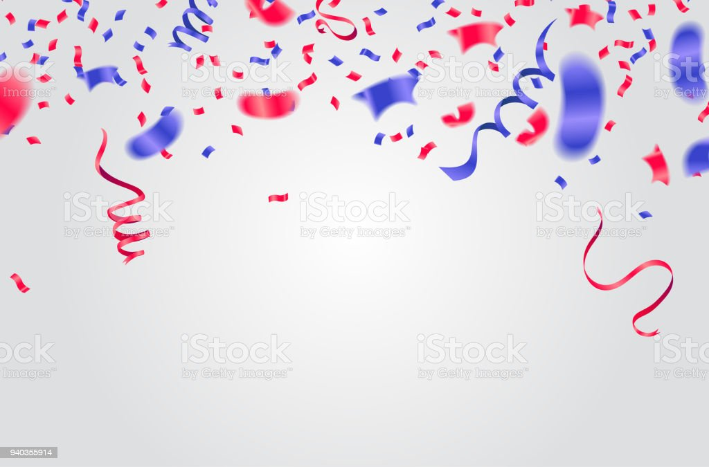 celebration background template with confetti and ribbons red and