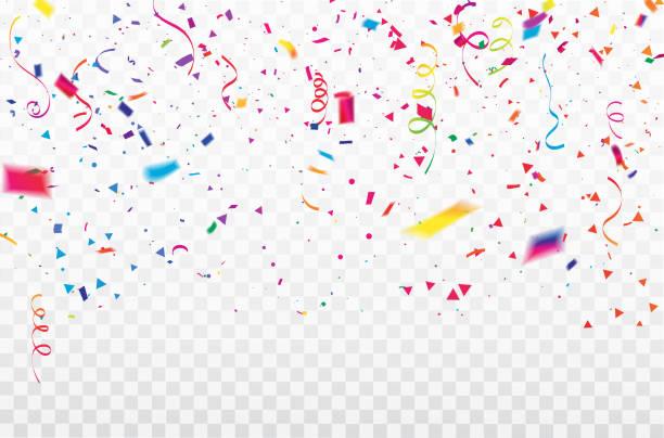 stockillustraties, clipart, cartoons en iconen met celebration achtergrond sjabloon met confetti kleurrijke linten frame. luxe groet rijke kaart. - confetti