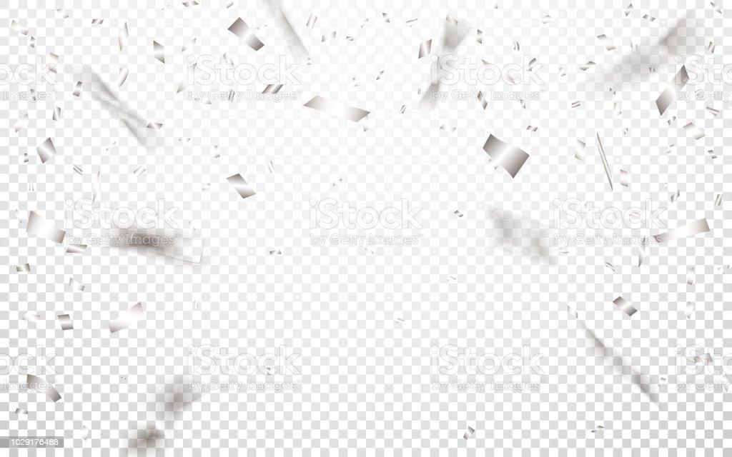 銀の紙吹雪とお祝い背景テンプレート。ベクトル図 ロイヤリティフリー銀の紙吹雪とお祝い背景テンプレートベクトル図 - お祝いのベクターアート素材や画像を多数ご用意