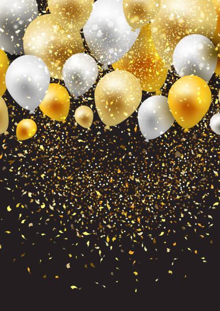 ilustraciones, imágenes clip art, dibujos animados e iconos de stock de fondo de celebración con globos y confeti - celebration background