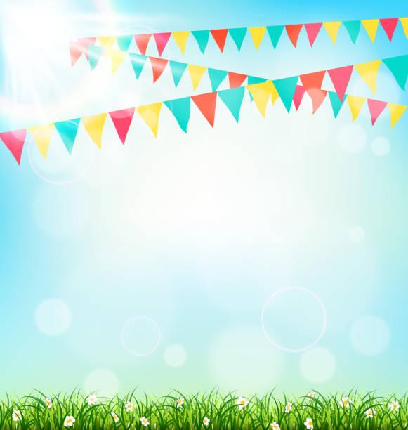 bildbanksillustrationer, clip art samt tecknat material och ikoner med celebration background with buntings grass and sunlight on sky - traditionell festival