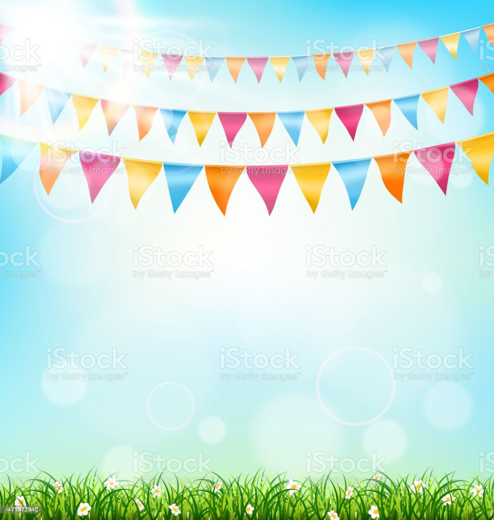 Celebration background with buntings grass and sunlight on sky vector art illustration