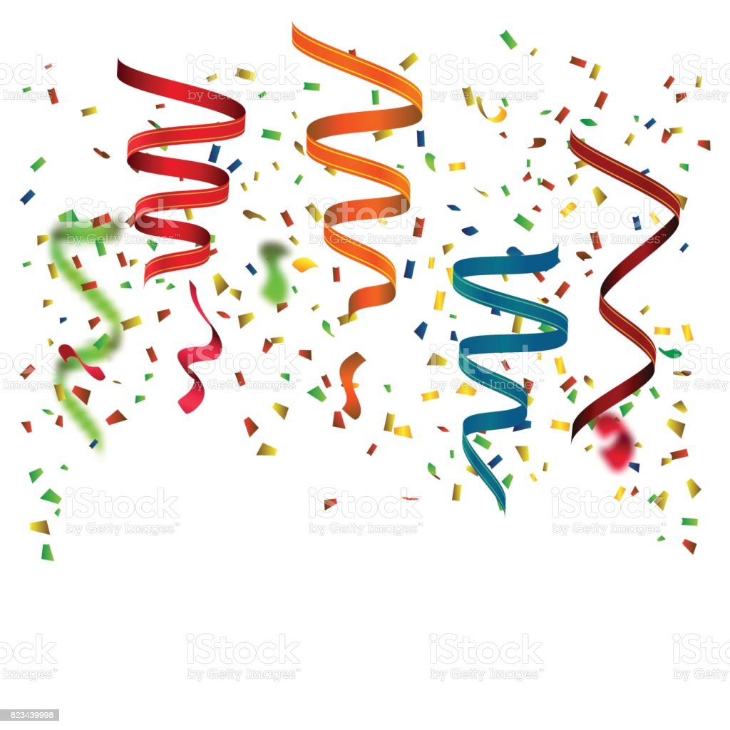 celebration background with colorful confetti and party ribbons seamless celebration borders on white background