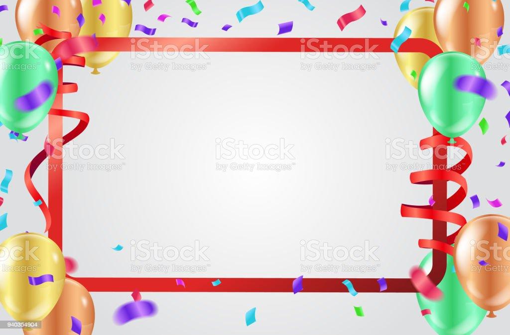 Ilustración de Fondo De Celebración Con Globos Cintas Y Confeti De ... db0c085aa67