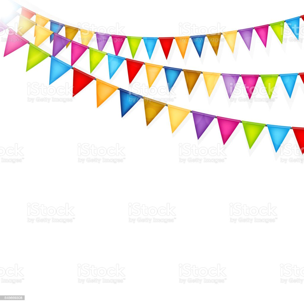 celebration background with colorful flags vector stock vector art