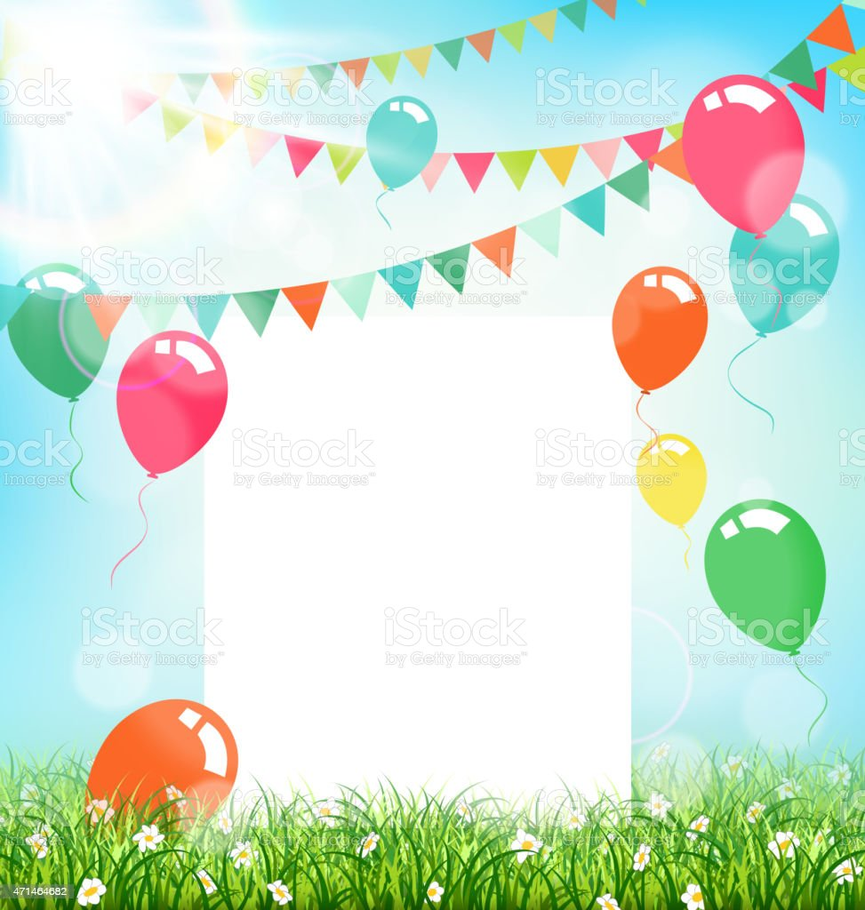 Celebration background with frame buntings air balls grass vector art illustration