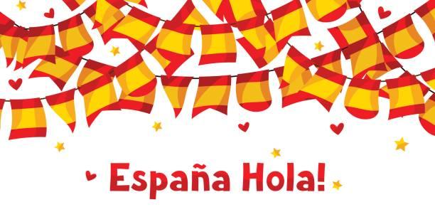 お祝い花輪スペインの旗を振ると背景 - スペイン料理点のイラスト素材/クリップアート素材/マンガ素材/アイコン素材