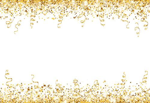 Celebration background with glitter decoration isolated on white. Falling confetti, holiday border.