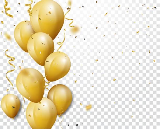 festungshintergrund mit gold-konfetti und ballons - ballon stock-grafiken, -clipart, -cartoons und -symbole