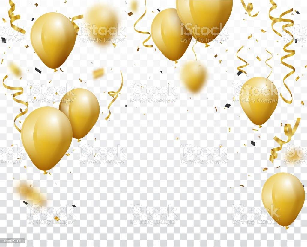Fondo de celebración con globos y confeti de oro ilustración de fondo de celebración con globos y confeti de oro y más vectores libres de derechos de acontecimiento libre de derechos