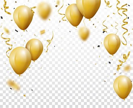Celebration Background With Gold Confetti And Balloons - Arte vetorial de stock e mais imagens de Alegria
