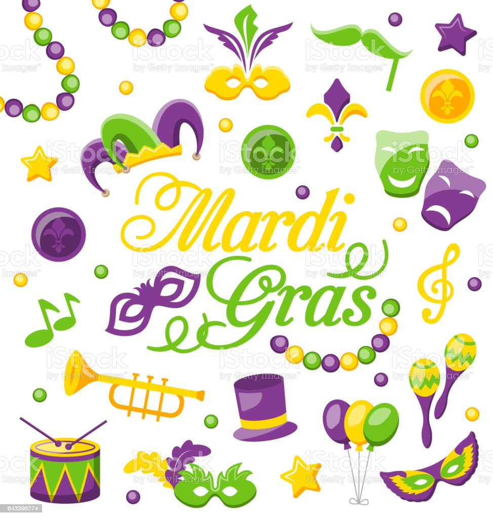 Celebration Background with Set Mardi Gras and Carnival Icons  Objects vector art illustration