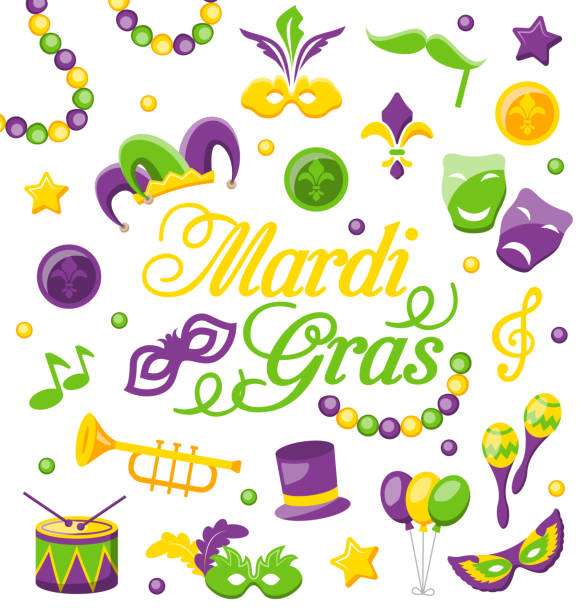celebration background with set mardi gras and carnival icons  objects - mardi gras cartoons stock illustrations, clip art, cartoons, & icons