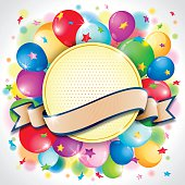 Circle badge and ribbon for your text with colorful balloon and confetti  blast. Ideal for Party, Birthday, New Year's Eve or other event celebration background.