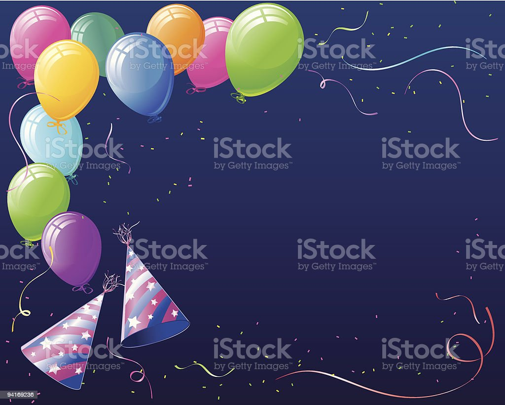 Celebration Balloons Hats and Confetti royalty-free stock vector art