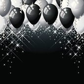 Black, Silver, and White Balloons with streamers and twinkling stars. Great for New Year's — Add the year to the balloons. Layered File.