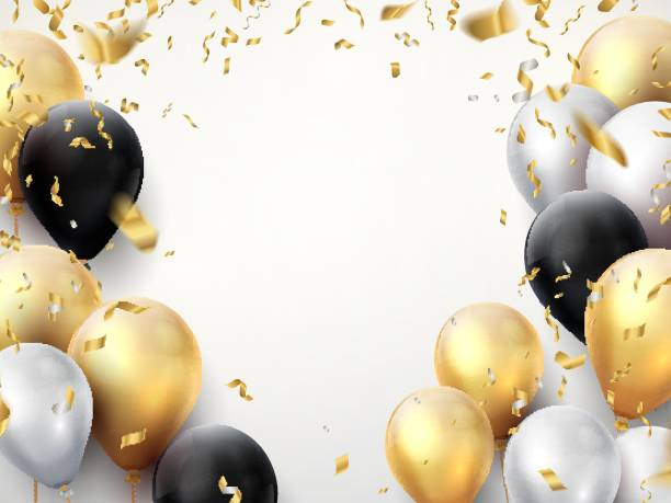Celebration banner. Happy birthday party background with golden ribbons, confetti and balloons. Realistic anniversary poster Celebration banner. Happy birthday party background with golden ribbons, confetti and balloons. Vector realistic anniversary poster hot air balloon stock illustrations