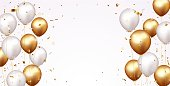 istock Celebration banner with gold confetti and balloons 1272811255