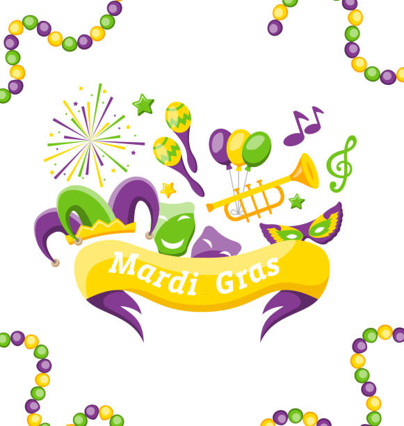 celebration banner with set carnival icons and objects for mardi gras, fat tuesday - mardi gras cartoons stock illustrations, clip art, cartoons, & icons